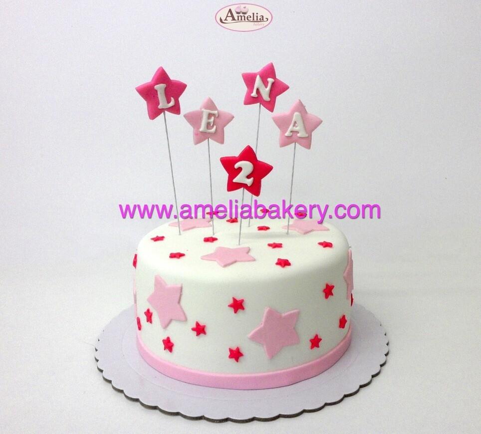 Tarta Fondant Cumpleaños Estrellas Rosa