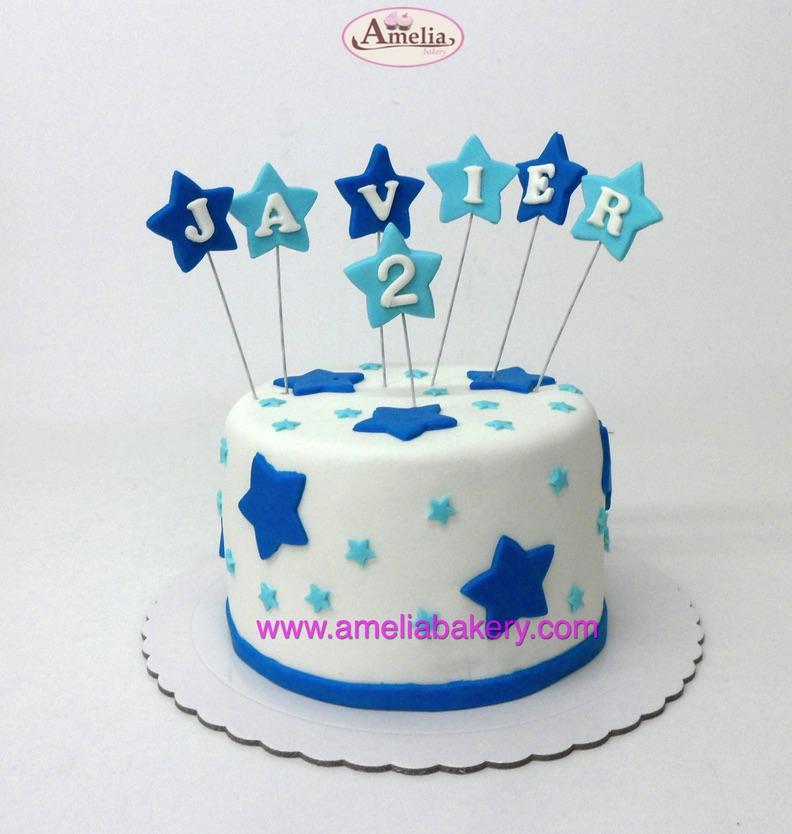 Tarta Fondant Cumpleaños Estrellas Azul