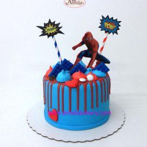 Tarta-spiderman-drip-cake-fondant-oblea