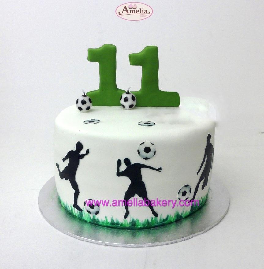 Tarta Fondant cumpleaños Futbol siluetas
