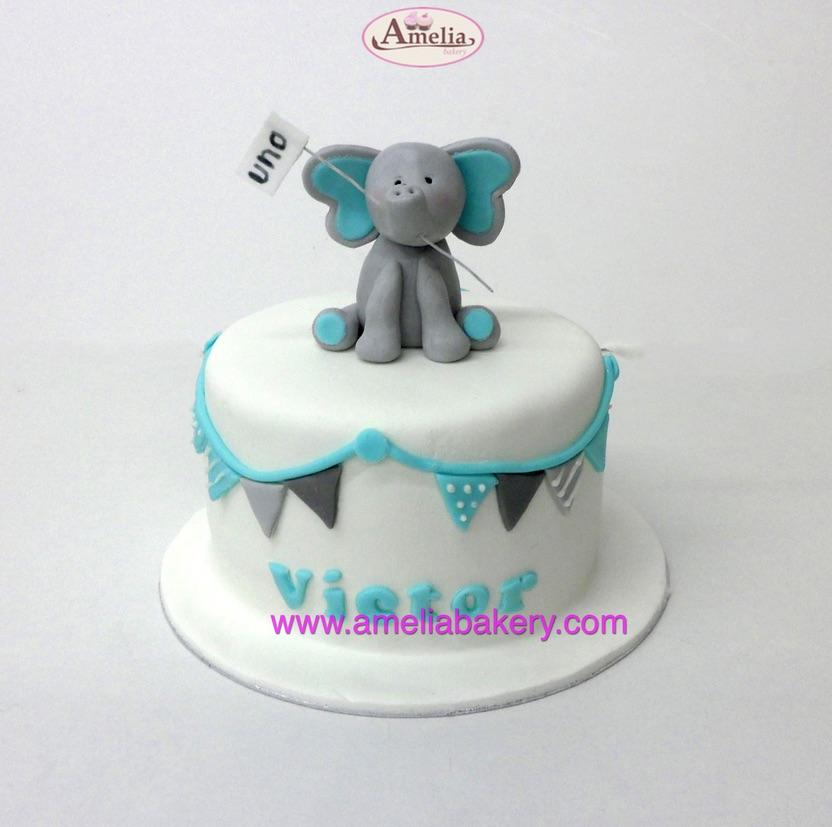 Tarta Fondant infantil con elefante 3d