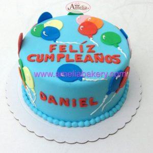 Tarta Fondant cumpleaños globos